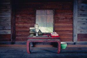 Vintage wood vanity table Thai style