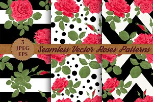 SALE RED ROSES seamless patterns