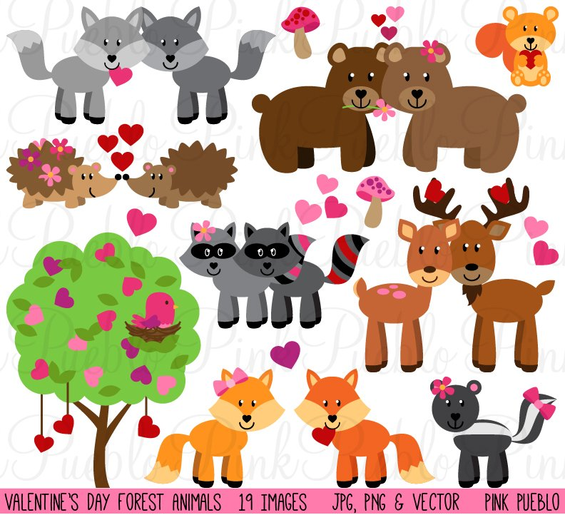 Valentine 39 s day forest animals illustrations creative - Valentine s day animal pics ...