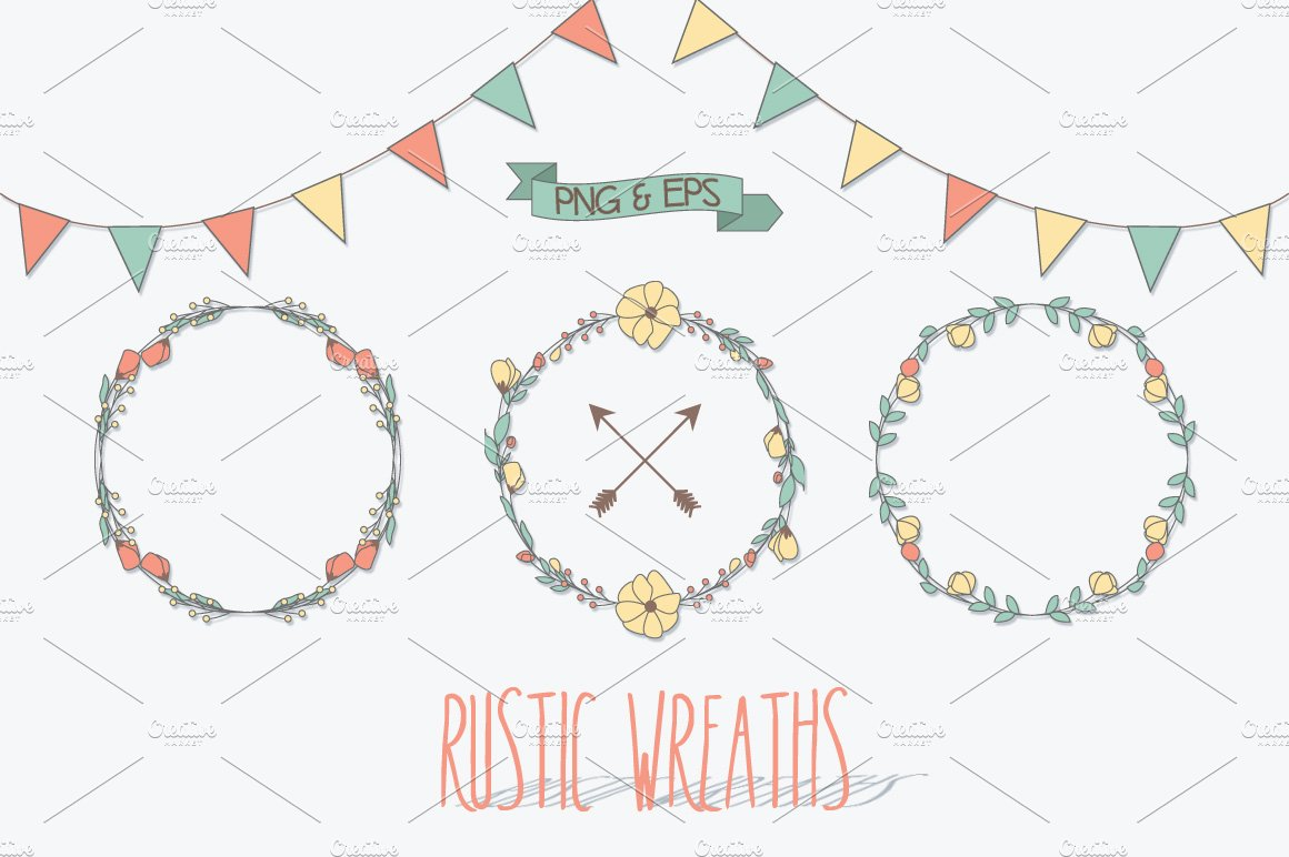 Rustic Wreaths Png Vector EPS Illustrations Creative Market