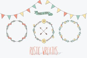 Rustic Wreaths, Png & Vector EPS