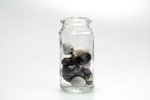Two thirds. Stones in a glass jar