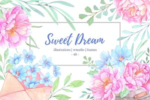 Sweet dream. Watercolor set