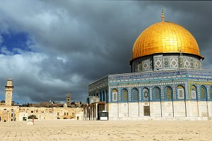 Clouds over Dome of the Rock mosque in Jerusalem