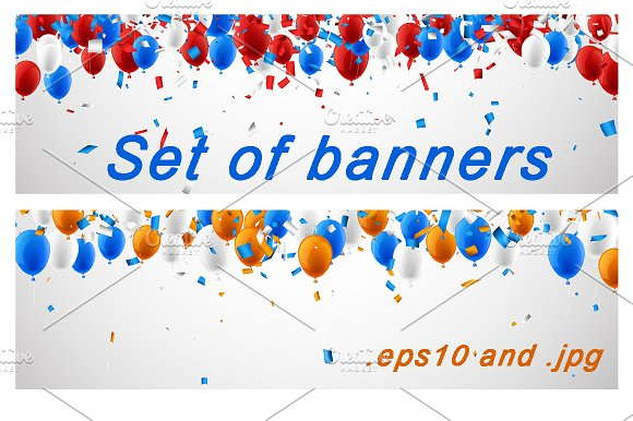 Banners set with balloons & confetti