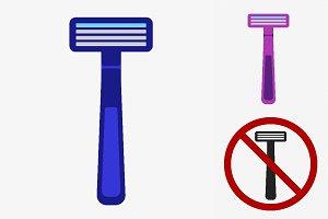 Shaving razor icons
