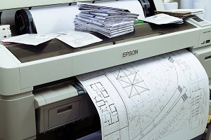 Wide format printer printing draft outline drawing