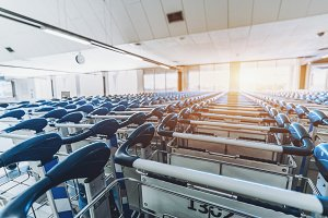 Luggage cart rows in airport