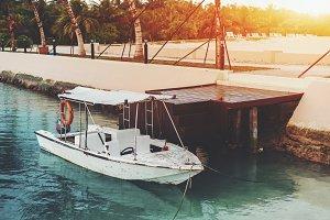 Boat near quay wall