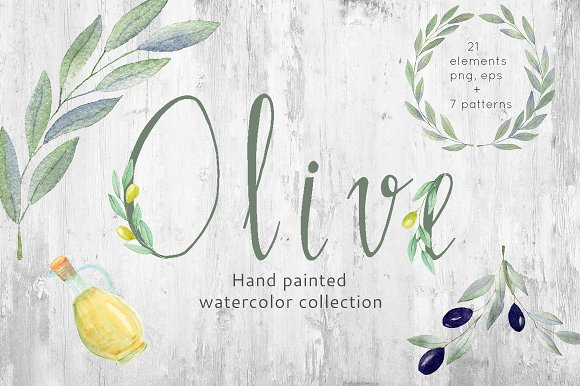 Watercolor Olive Collection