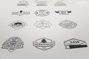 Wood Vector Badges Logo Set