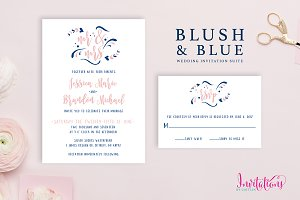 Blush & Blue Wedding Invitation Set