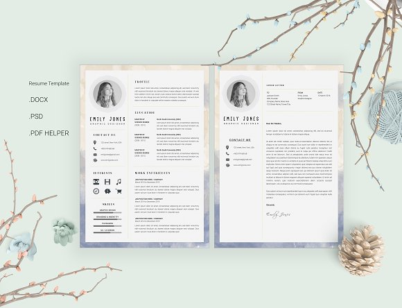 Water Color CV-Resume Template *C