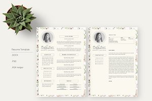 Floral Pattern CV-Resume Template *C
