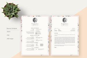 Floral Pattern CV-Resume Template *C