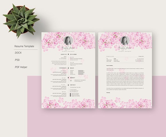 Floral Simple CV-Resume Template *C