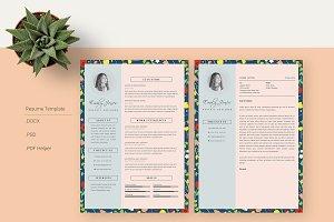 Floral Patern CV-Resume Template *C