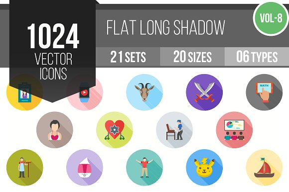 1024 Flat Shadowed Icons