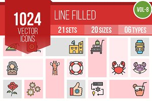 1024 Line Filled Icons (V8)