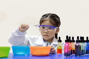 science girl in lab