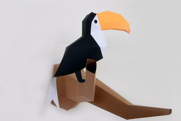 DIY Toucan Bird - 3d papercraft in Templates - product preview 3