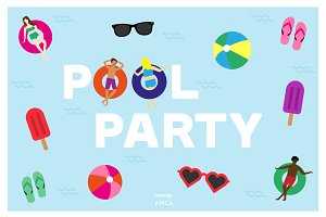 Pool Party Vector, PNG & JPG