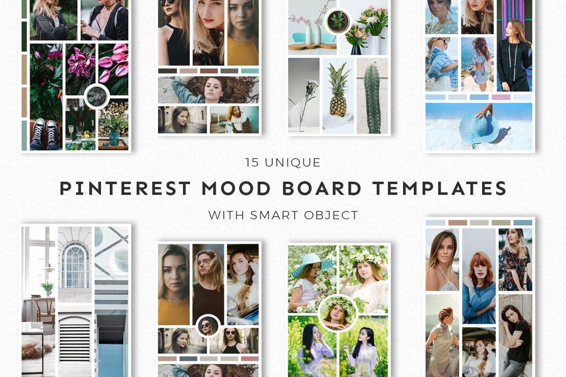 15 pinterest mood board templates pinterest templates creative market. Black Bedroom Furniture Sets. Home Design Ideas