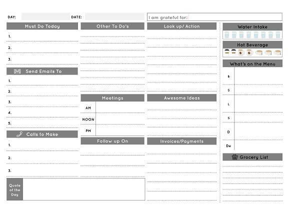 daily business planner mono stationery templates creative market