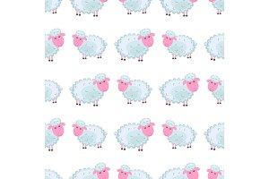 Cute sheep Cartoon Flat Vector Sticker or Icon