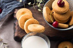 Summer milk and cookies scene