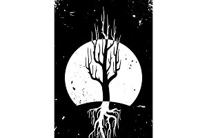 Tree at night vector art