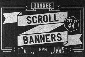 Grunge scroll banners set of 44