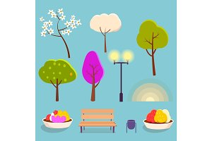 Spring Park Cartoon Isolated Elements Collection