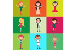 Multinational Kids Isolated on Colorful Background