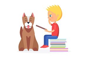 Blond Boy Sitting on Heap of Literature with Pet