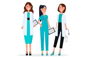 Women Team of Three Pretty Smiling Doctors Flat