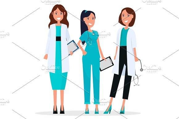 Women Team of Three Pretty Smiling Doctors Flat