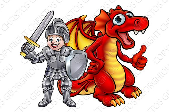 Cartoon Dragon and Knight in Illustrations