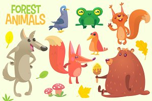 Cartoon woodland animals. Vector set
