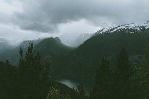 Moody Fjord Landscape in Europe
