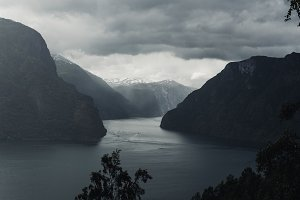 Cloudy Weather over the Fjord