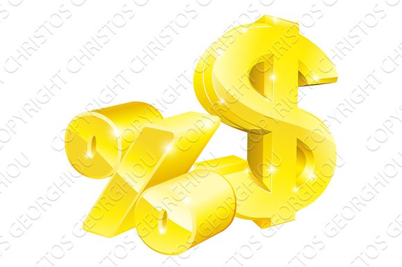 Dollar Percentage Rate Signs