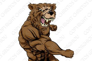 Mean bear sports mascot punching