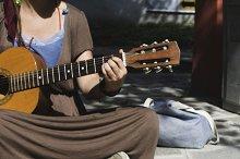 Boy and girl street musicians