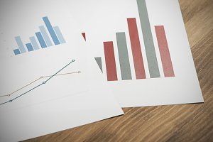 Business graphics. Analysis of financial data. Horizontal studio shot.