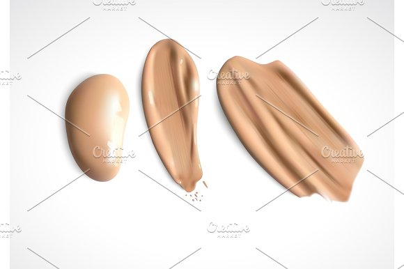 Cosmetic Concealer Smear Strokes Tone Cream Smudged Vector