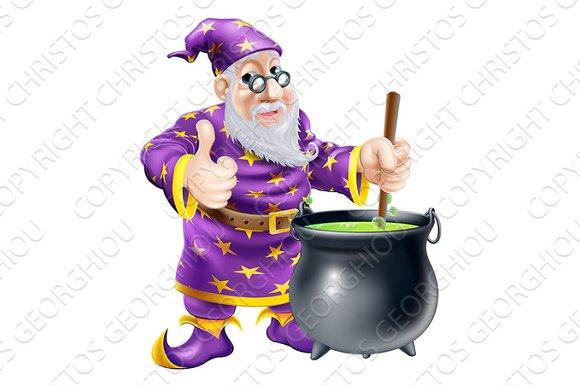 Wizard and cauldron