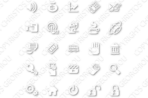 Icon Set White Minimalist