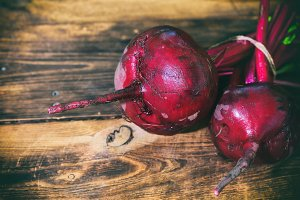 Two fresh red beets