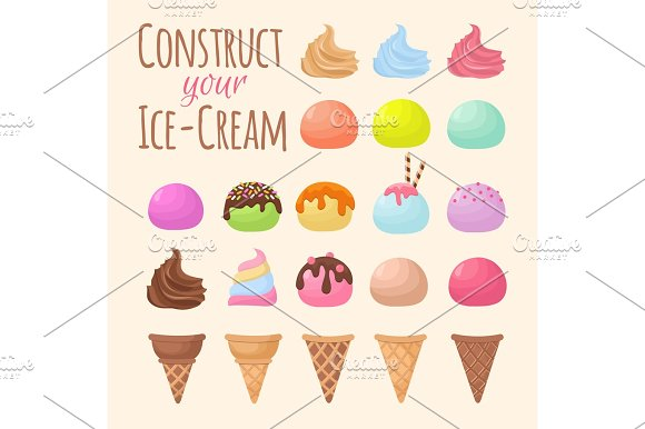 Cartoon Ice Cream And Waffle Cone Cartoon Creation Constructor